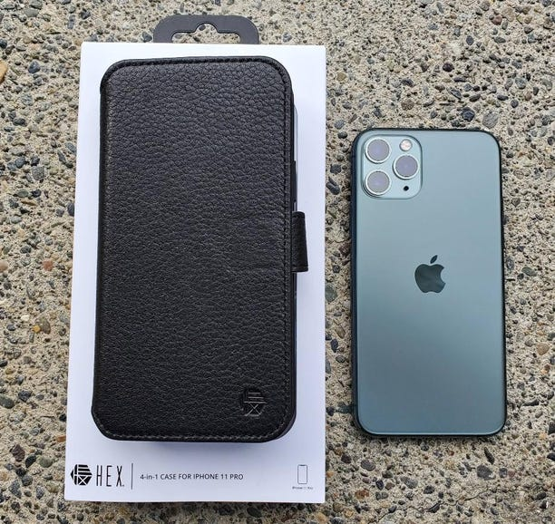 HEX 4-in-1 retail package and iPhone 11 Pro
