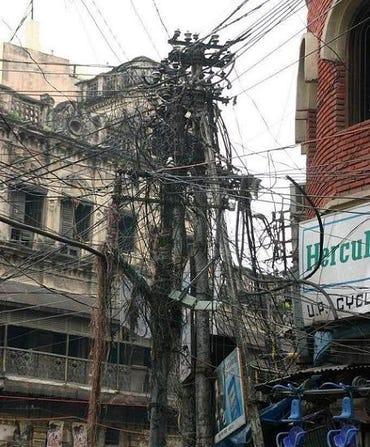 Telephone wires, India