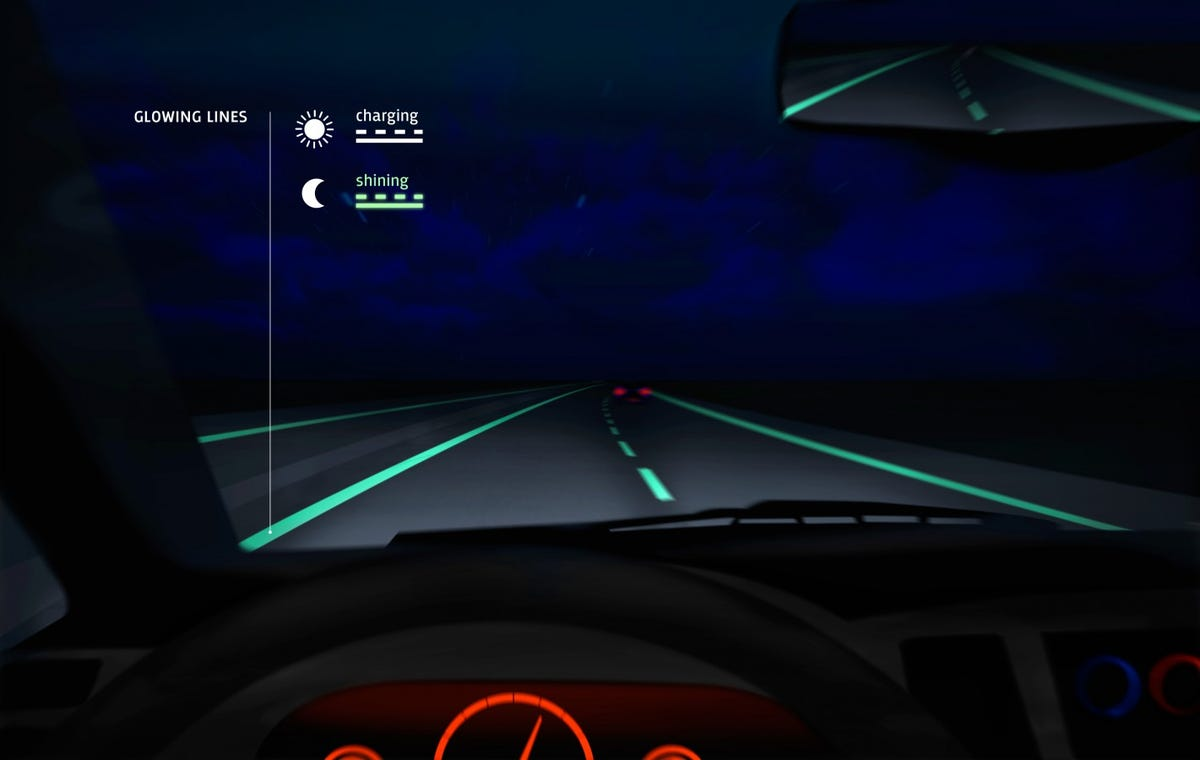 glowing highway lines