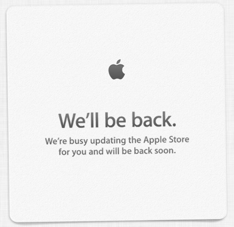 """Apple's iconic """"We'll be back"""" note at it's online store - Jason O'Grady"""