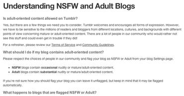 Tumblr former Adult and NSFW policy