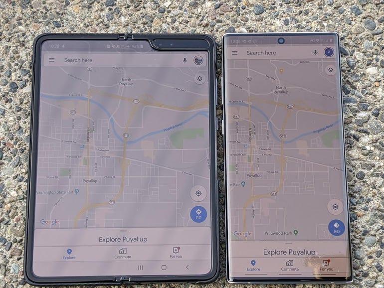 Google Maps: Fold vs Note 10+