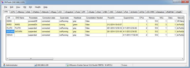RVTools utility showing a vCenter report.