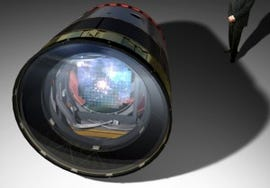 The LSST camera will be the largest digital camera ever constructed, measuring roughly 5' x 10' (credit: LSST Corporation)