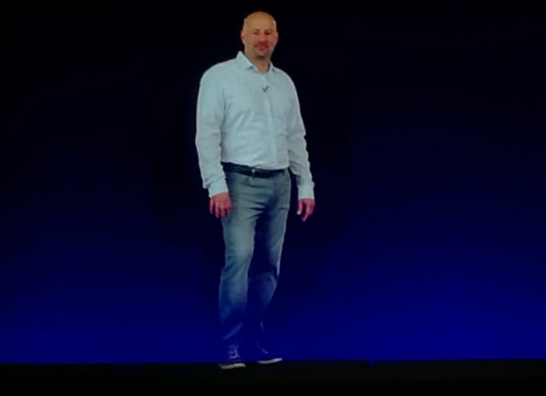 Intel's Gregory Bryant appears as a live hologram at Computex 2016