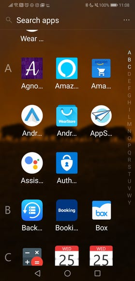 Alphabetically sorted app list for deletion and settings
