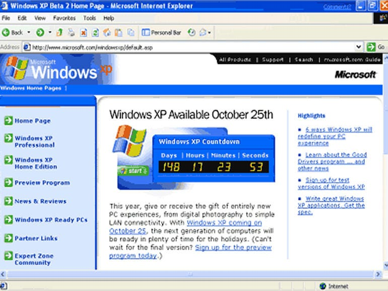 2001: IE6 arrives with Windows XP, and stays for five years