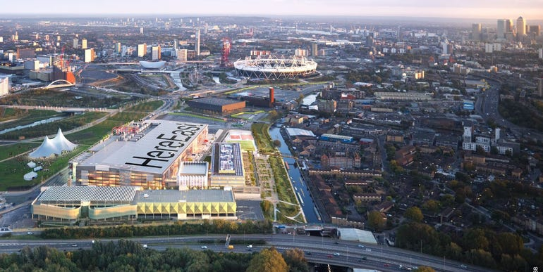 View of the Olympic Park in London with the Here East complex in the foreground.