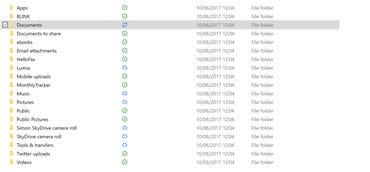 OneDrive status icons in explorer