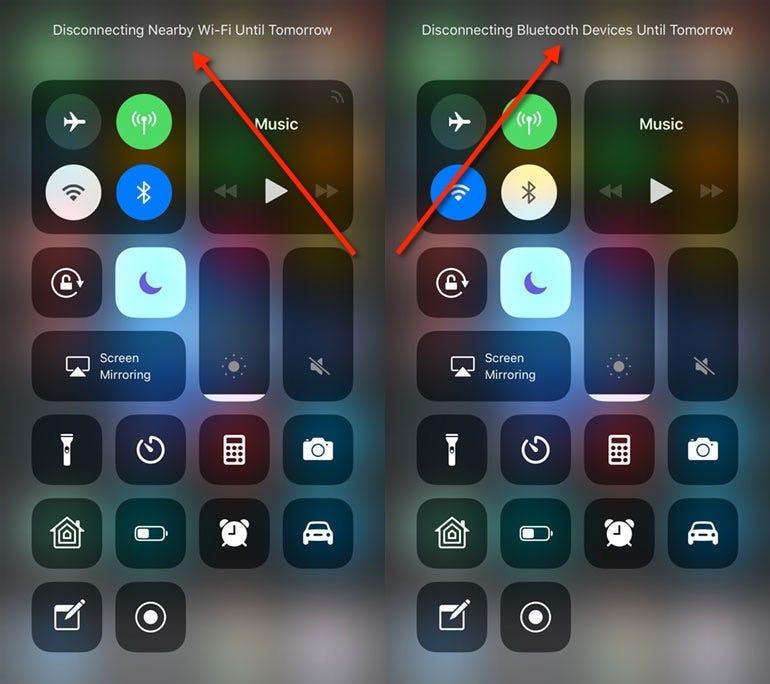 Wi-Fi/Bluetooth notifications in iOS 11.2 beta 3