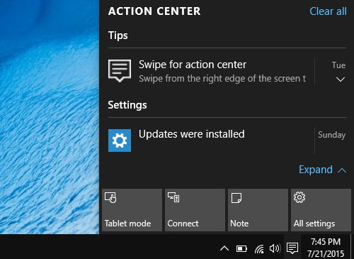 Windows 10 Action Center integration that doesn't suck
