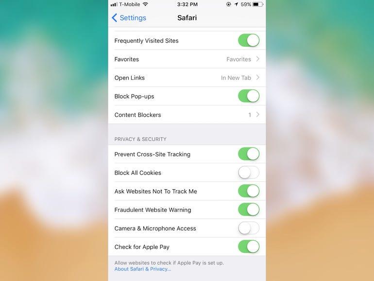 Change these Safari settings, stat