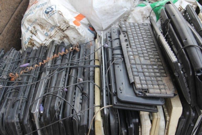 Pile of discarded Keyboards at local kabadivala