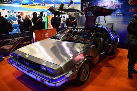 Souped-up DeLorean car on the ClassVR stand at BETT