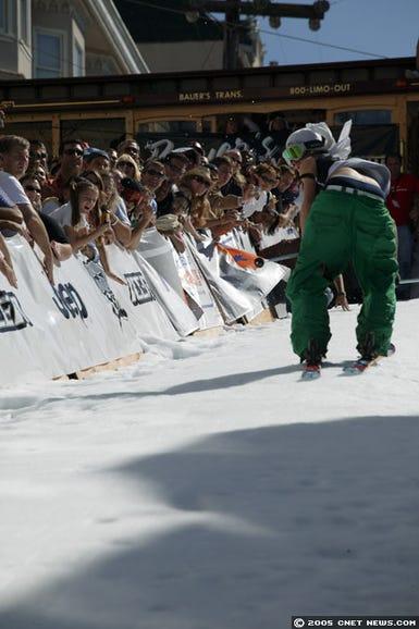 skiing backwards