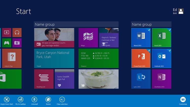 More Start screen customizing options