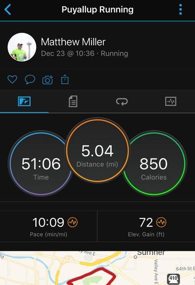 Typical run summary screen