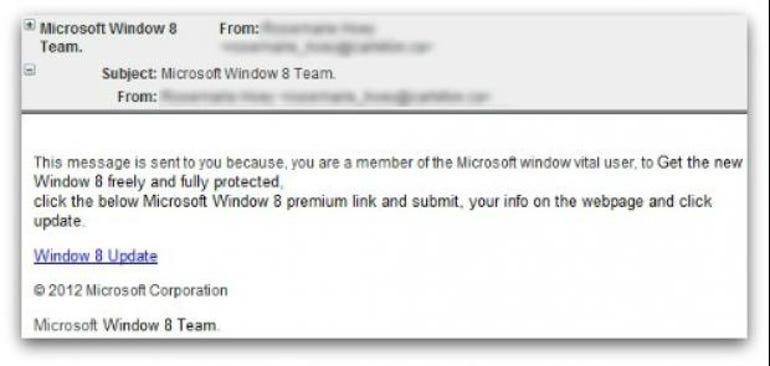 windows 8 phishing email scam free upgrade promise