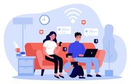 Family suffering from social media addiction