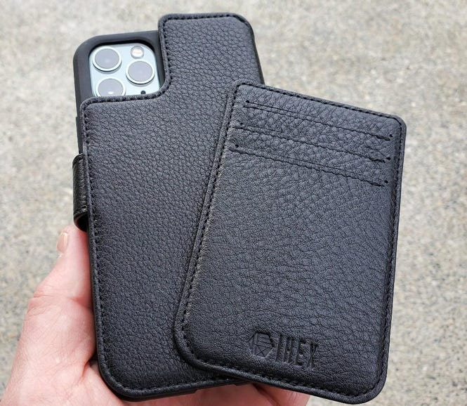 Magnetic wallet case attached