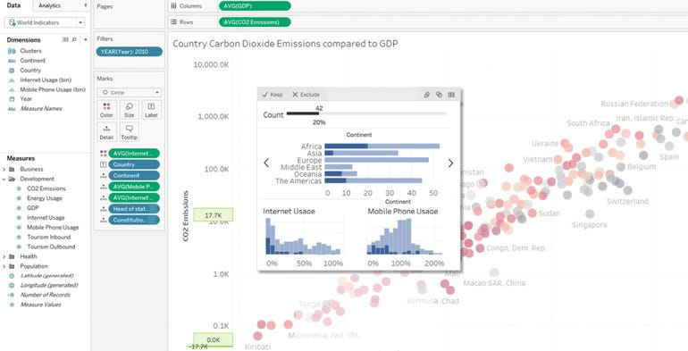 Tableau hover over insights