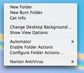 Mac OS X desktop pop-up menu