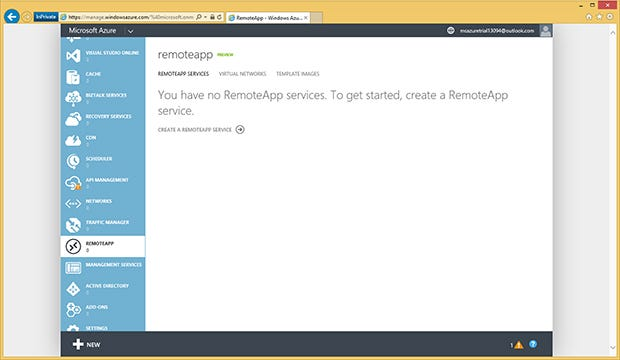 Log onto Azure's RemoteApp service