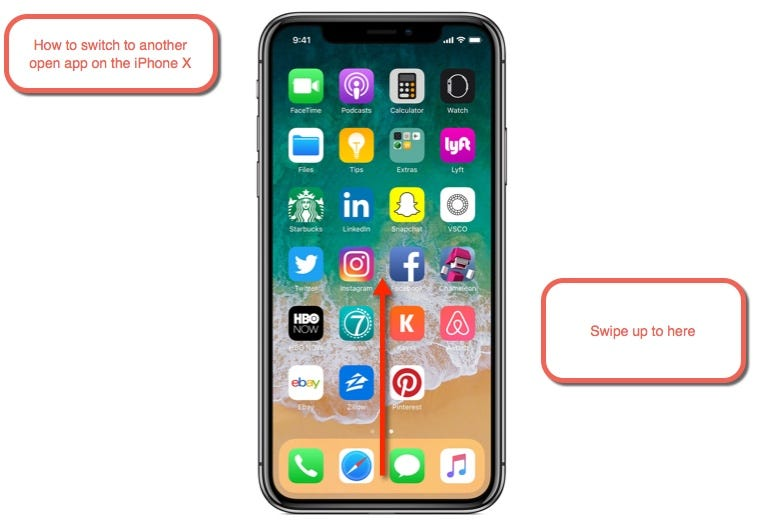 How to switch to another open app on the iPhone X