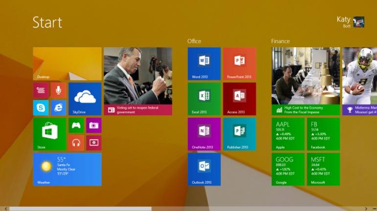 The new Windows 8.1 Start screen