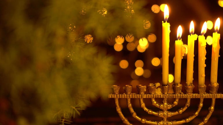 The fourth Night of Hanukkah. Four lights in the menorah