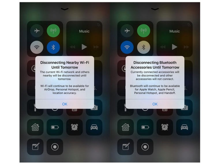 Changes with how the Wi-Fi and Bluetooth buttons in Control Center work