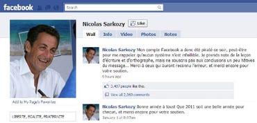 President Sarkozy's Facebook Page, Sunday, 1/23/11.