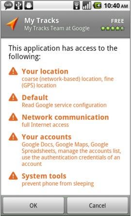 Android Market permission screen - Jason O'Grady