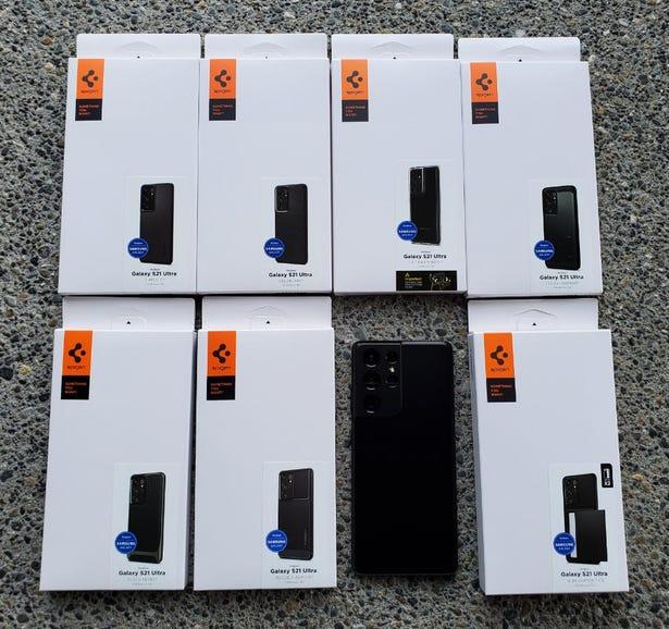 Spigen case assortment for the Galaxy S21 Ultra 5G