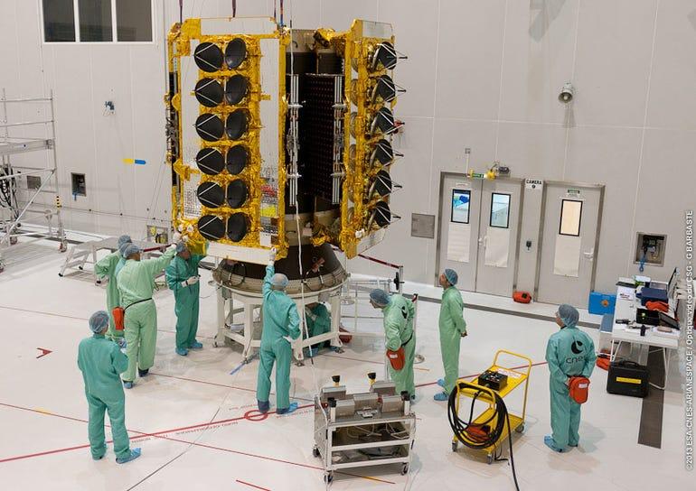 O3b's satellites mounted to launch dispenser