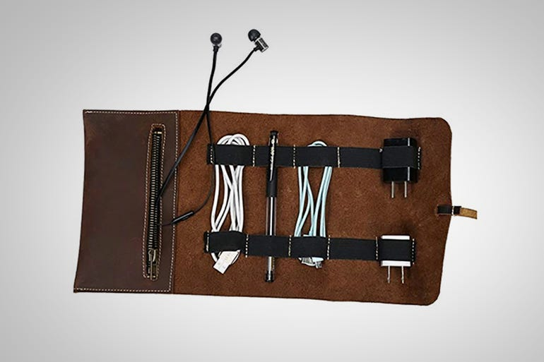 Travel Genuine Leather Accessory Cable Pouch ($30)