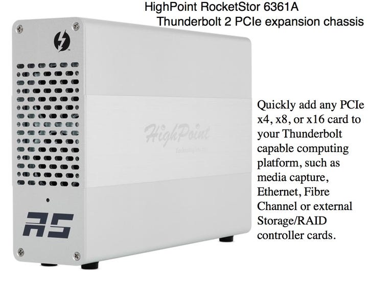 HighPoint RocketStor 6361A Thunderbolt 2 PCIe expansion chassis
