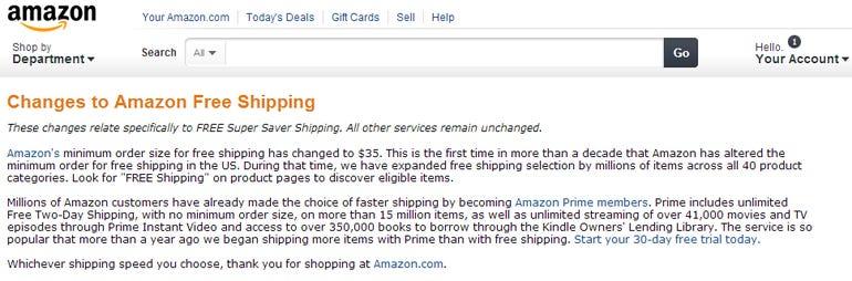 amazon shipping free