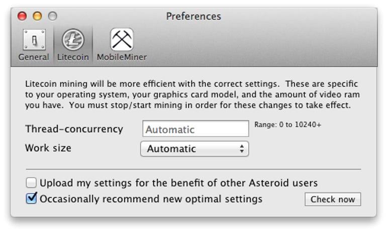 Asteroid - Preferences (Litecoin)
