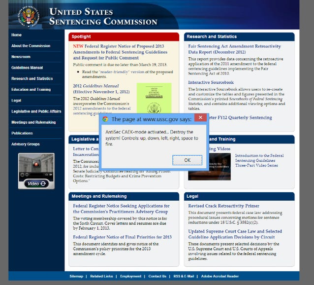 """Anonymous """"Operation Last Resort"""" turns U.S. sentencing website into """"Asteroids"""""""