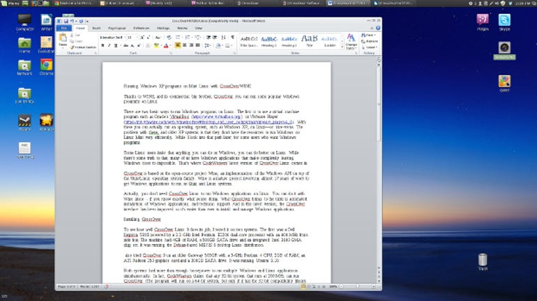 Office running on Mint Linux with CrossOver.