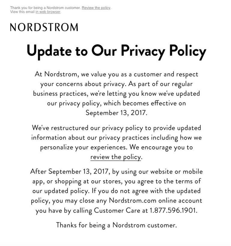 Nordstrom email gdpr