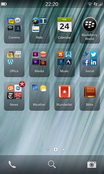 My current BlackBerry Z10 application organization