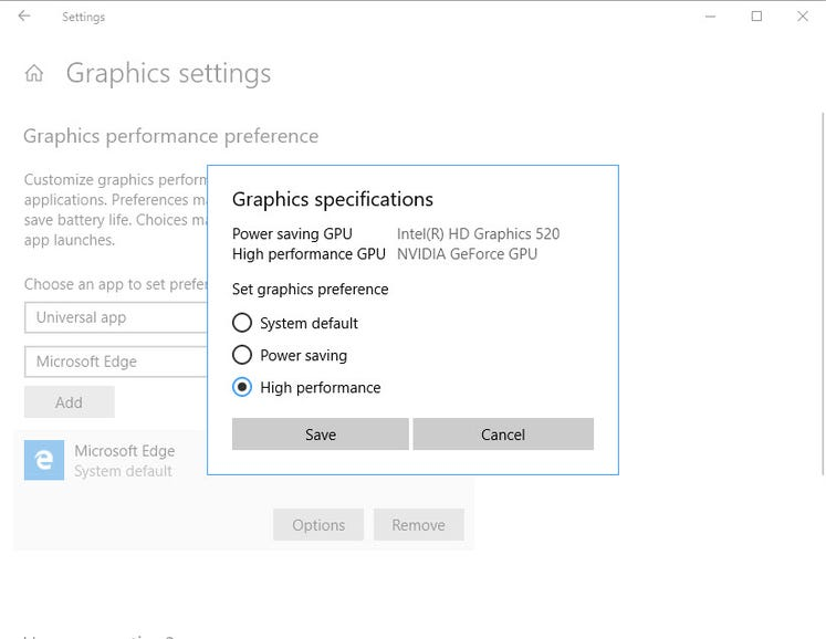 On dual-GPU PCs, assign graphics support on a per-app basis