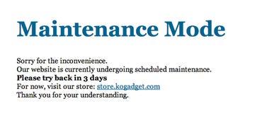 Maintenance Mode error message at KO gadgets