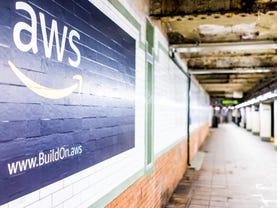 Amazon Web Services AWS advertisement ad sign closeup
