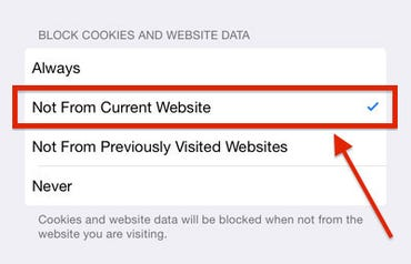 iOS 8 Safari Cookie Settings - ZDNet