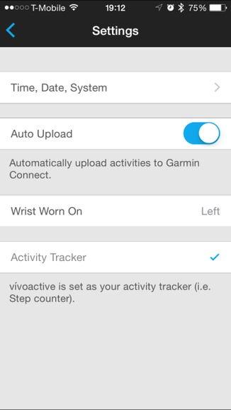 Garmin Vivoactive settings