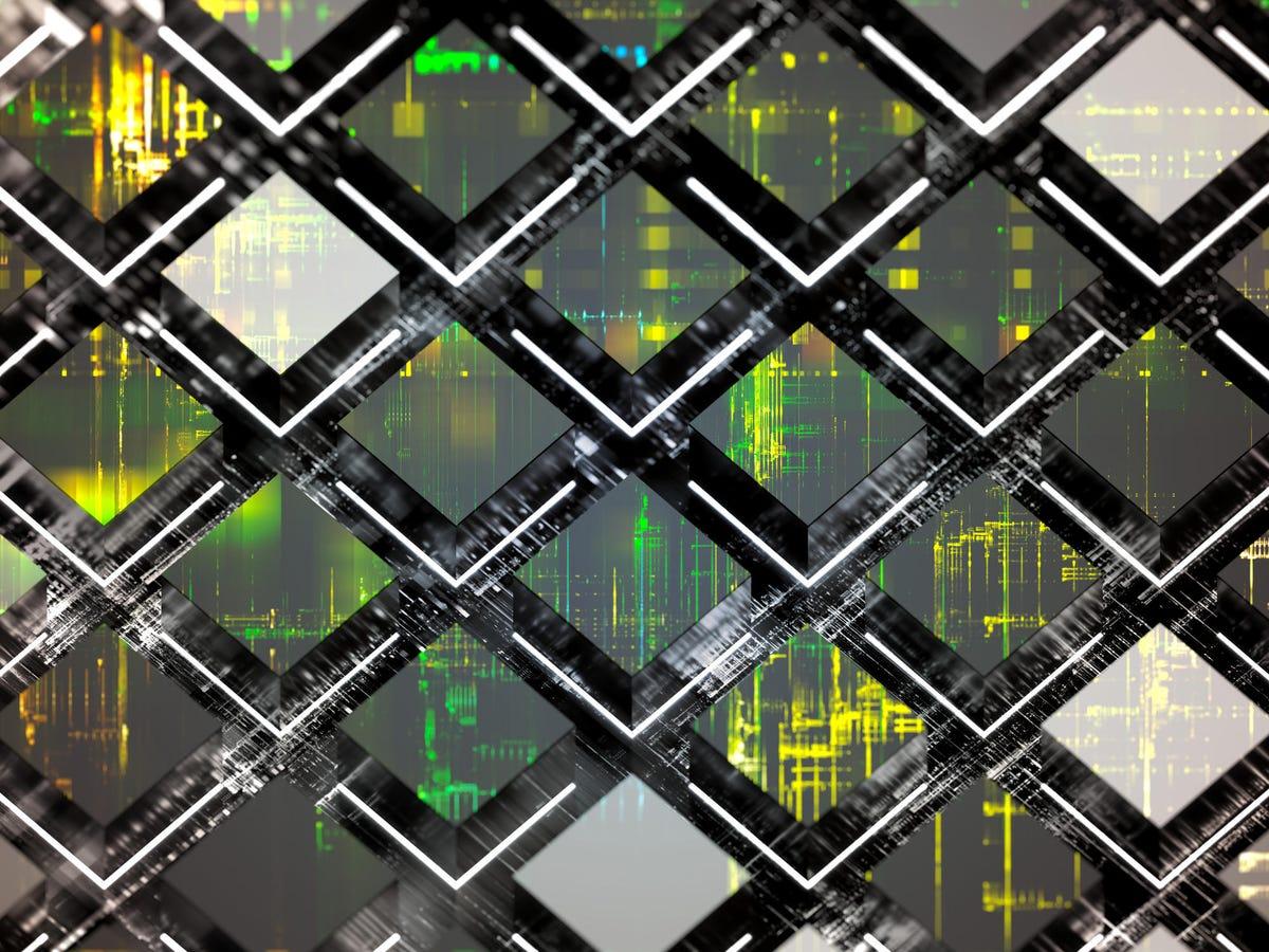 Conceptual representation of a large group of futuristic quantum computers