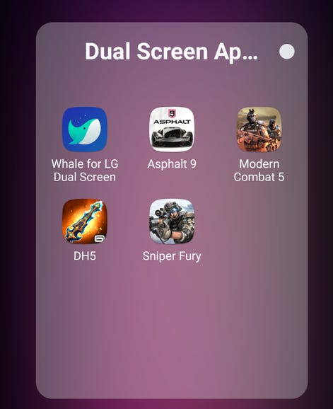 Included dual screen apps and games